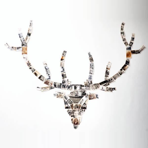 Фотоколлаж в форме головы оленя