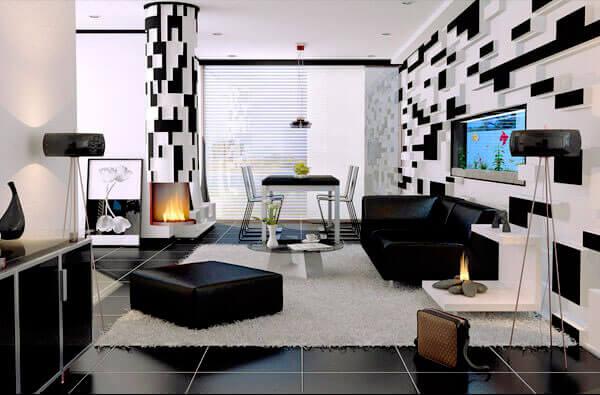 гостиная в чёрно-белом стиле фото
