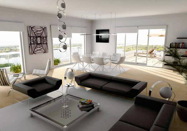 20 современных интерьеров гостиной в чёрно-белом цвете