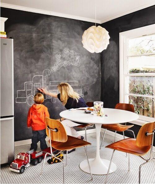 Грифельная доска на кухне для ребёнка