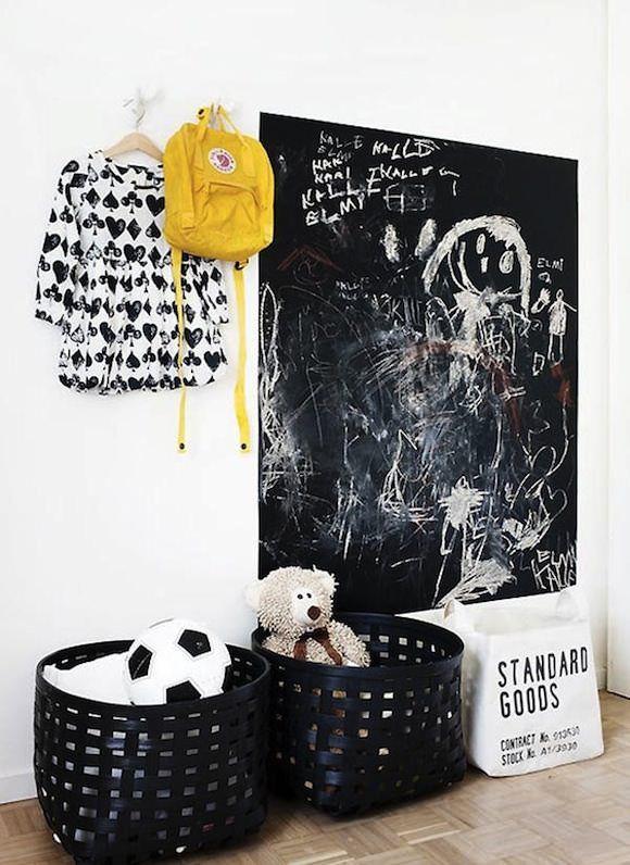 Грифельная доска на стене с детским рисунком