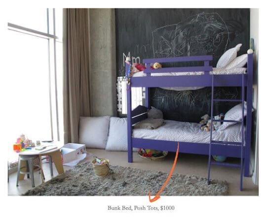 Детская комната Гвинет Пелтроу с меловой доской на стене