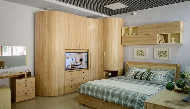 Корпусная мебель для спальни с радиусными фасадами