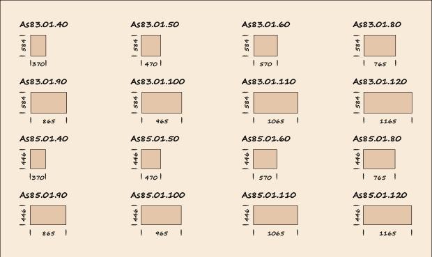 Ширины стандартных модулей Infinity.