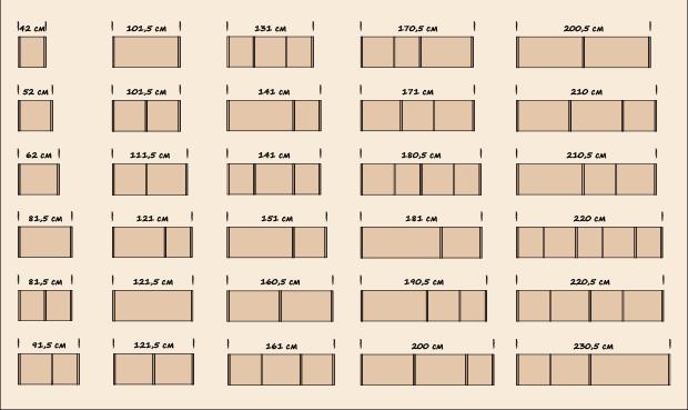 Шкафы с модулями разной ширины.